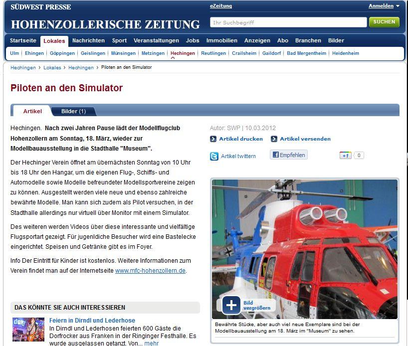Hohenzollerische Zeitung 10.03.2012